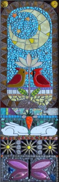 Cardinals and hares mosaic - Aly Winningham, Terra Firma Studios Mosaic Crafts, Mosaic Projects, Mosaic Art, Mosaic Glass, Fused Glass, Tile Art, Mosaic Animals, Mosaic Birds, Butterfly Mosaic