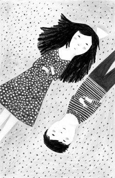 Ilustración de Patricia Metola para el relato de Ignacio Sanz Una vaca, dos niños y trescientos ruiseñores. Edelvives lo incluye en la colección Ala Delta, serie azul, para niños de más de 8 años.