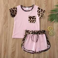 Leopard print top and shorts set. Summer Short Sleeve T-shirt and Shorts Material: COTTON Kids Girls Tops, Kids Outfits Girls, Toddler Girl Outfits, Toddler Girls, Baby Girls, T Shirt And Shorts, Leggings Are Not Pants, Short Outfits, Cute Outfits