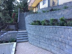 Retaining Wall Terraces and Planters Deck Stair Railing, Stair Treads, Decorative Concrete Blocks, Stair Posts, Cheap Diy Home Decor, Building Stone, Steel Stairs, Stair Detail, Wall Hung Vanity