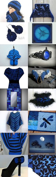 blue and black by styledonna on Etsy--Pinned with TreasuryPin.com