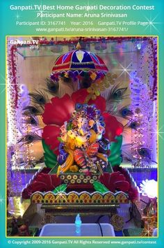 Aruna Srinivasan Home Ganpati Picture View more pictures and videos of Ganpati Decoration at Pool Deck Decorations, Umbrella Decorations, Diwali Decorations, Festival Decorations, Paper Decorations, Ganpati Decoration Design, Mandir Decoration, Ganapati Decoration, Ganpati Picture