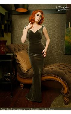 Laura Byrnes California - The Laura Byrnes Gilda Gown in Olive Velvet | Pinup Girl Clothing