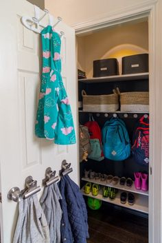 Maximize your entry or mudroom closet space by installing hooks, pegs, and shelves for an easy drop-off station for your kids. Everyone has their own spot for their coat, shoes, and backpack - all at their level! #closetorganization #mudroomstorage