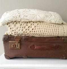 #feelingathome #brocante #vintage #antique #french #crochet #bedspread #vintagesuitcase