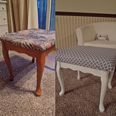 My first attempt to reupholster:) I thrifted this little stool for $8. I used my left over white paint from previous project, bought fabric and foam to replace the cover. After sanding, painting and stapling the fabric to the wood, I have a new and improved stool:) worked on it for about 3 hours and cost is less than $25. Yay!