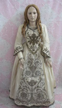 "Early 28"" Wooden Doll circa 1720-1740 with original silk costume and flax hair in original ringlets Dolls And Lace.com"