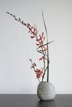 especially the rock vase Ikebana 'Red orchid' - final attempt Arrangements Ikebana, Ikebana Flower Arrangement, Beautiful Flower Arrangements, Flower Vases, Flower Art, Floral Arrangements, Beautiful Flowers, Arte Floral, Deco Floral