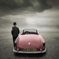 pink, vintage, car