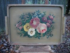 Vintage Large Tole Wooden Serving Tray  This absolutely beautiful painted serving tray is perfect for the rustic, farmhouse, or shabby decor!  It is very generous in size measuring 24 wide (handle to handle) x 16 high x 1 deep (not including handles).  It measures 27 diagonally.  The tray has the o