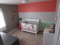 Coral, Mint & Chevron Accent Wall in the Nursery