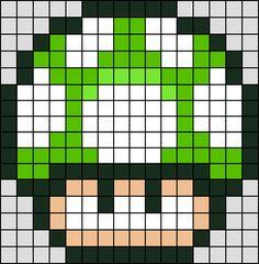 Patron / Pattern : Champignon Vert Super Mario NINTENDO en Perle HAMA (Mini)    Taille de la grille 16 x 16 (soit environ  4,0 x 4,0 cm)    Nombre de perles totales : 208 (sans le fond, que le personnage)