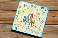 """Καδρο """"Abc"""" για παιδικο δωματιο με stencil και decoupage"""