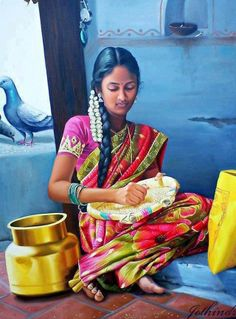 Tamil Girl Picking Stones in Rice - Painting by S.