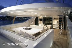 S/Y Red Dragon - 169 ft luxury performance sailboat - sun deck at night