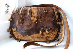 4lapki сумка стимпанк натуральная кожа бабочка ручная работа / steampunk genuine leather bag handmade