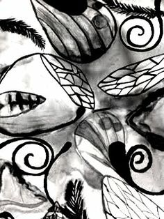Fabric Scrolls: Diluting Ink To Show Value.  Inspired by insects- Grade 8