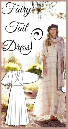 Women's dress sewing pattern available for download. Delicate printed chiffon gives this dress beautiful movement and a fairy tale look. This dress is lined with crêpe de chine for a luxurious touch, and makes a wonderful outfit for any occasion. Get a bold look in gem toned chiffon, or make it in white for a soft bridal look. afflink
