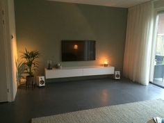 Early dew zwevend tv-meubel wit Slate Flooring, Living Room Green, Living Spaces, New Homes, House Design, Tvs, Mint, Interiors, Inspiration