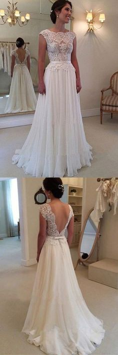 A-line wedding dress,Lace Appliqued wedding gown,Cap Sleeves wedding gowns,Ivory Chiffon wedding dresses,Long Beach Wedding Dresses
