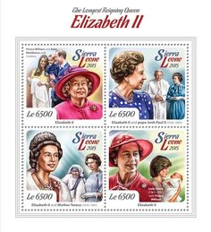 Post stamp Sierra Leone SRL 15111 aLongest Reigning Queen Elizabeth II (Prince William and Kate Middleton with children, {…}, Lady Diana (1961–1997) with prince William)