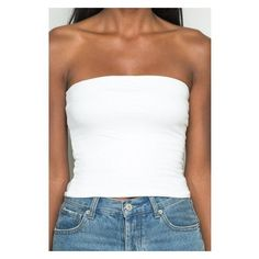 Jenny Tube Top ❤ liked on Polyvore featuring tops, fitted tube top, fitted tops, white top, white tube top and white fitted top