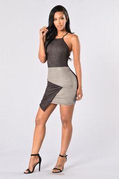 Suede Persuasion Dress - Black/Grey