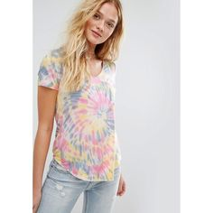 Hollister Easy V-Neck T-Shirt with Tie-Dye Print (€19) ❤ liked on Polyvore featuring tops, t-shirts, multi, blue t shirt, summer tops, tie dye t shirts, summer t shirts and blue tie dye t shirt