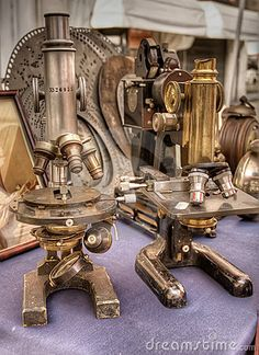 Old Microscopes In An Italian Antique Market