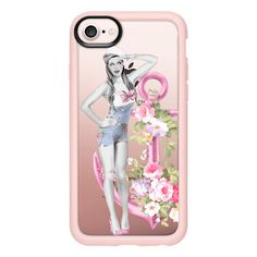 Sailor Girl with Pink Anchor and Flowers - iPhone 7 Case And Cover (£31) ❤ liked on Polyvore featuring accessories, tech accessories, iphone case, apple iphone case, pink iphone case, iphone cases, flower iphone case and clear iphone case
