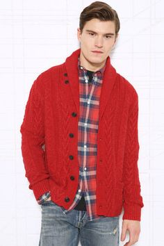 DENIM & SUPPLY RALPH LAUREN Red Cabled Knit Shawl CARDIGAN Sweater NEW SMALL #DenimSupplyRalphLauren #Cardigan