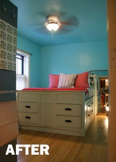 Small blue room, giant bed.  Sounds like my future bedroom.