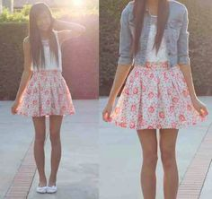 Jean Jacket W/ Skirt Floral. Teen Fashion.