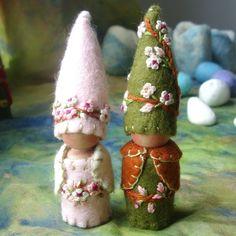 Custom Spring Blossom Gnomes Wedding Cake Topper Faerie Elf Natural