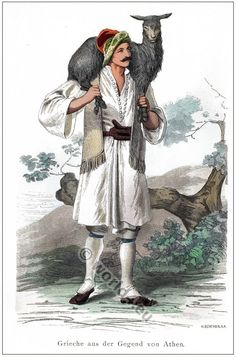 Traditional Greek folk clothing. [Franz Lipperheide, 1876-1887]