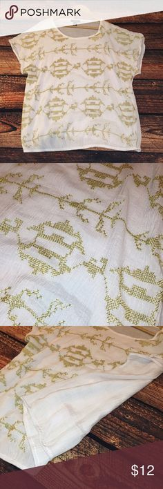 Gold Detail Top Amazing peasant top with metallic gold embroidery! Perfect condition. No trades. Alfani Tops