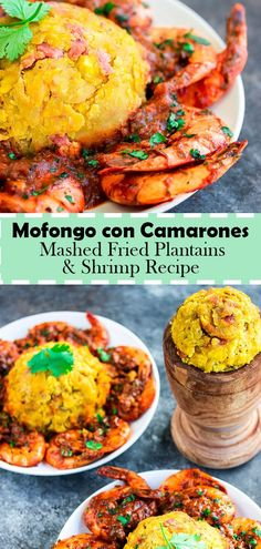 Mofongo con Camarones (Mashed Plantains with Shrimp) Mofongo con Camarones is a traditional Puerto Rican dish, that is easy to make, and is filled with deliciousness flavor! It originally was made by boiling starchy foods such as cassava and plantain, and Boricua Recipes, Comida Boricua, Shrimp Recipes, Fish Recipes, Gourmet Recipes, Mexican Food Recipes, Cooking Recipes, Ethnic Recipes, Dominican Food Recipes