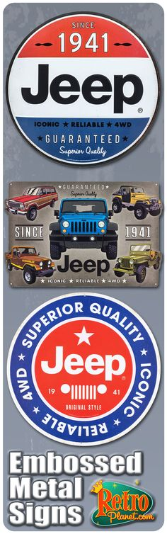 Excellent selection of metal signs including some great Jeep designs.