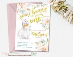 Bunny Invitation, Bunny Birthday Invitation, Some Bunny Is Turning One, Some Bunny Invitation, Pink and Mint Invitation, Bunny Birthday by PartyInvitesAndMore on Etsy https://www.etsy.com/listing/508394079/bunny-invitation-bunny-birthday