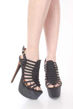 Black Faux Leather Strappy Platform Heels $25