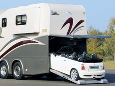 mobile home with a mini cooper inside.  For my dream vacation.