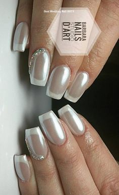 Royal Look With pearls And rhinestone manicure frenchtips nails summernails frenchnails weddingnails Bridal Nails French, French Nail Art, French Tip Nails, French Manicures, French Manicure With Glitter, French Tips, Bridal Nails Designs, Wedding Nails Design, Nail Art Designs