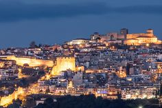 The Walls of Thessaloniki and the Acropolis Fortress (Heptapyrgion) by Night Greece Photography, Acropolis, Fortification, Future Goals, Thessaloniki, 14th Century, San Francisco Skyline, Paris Skyline, Greeks
