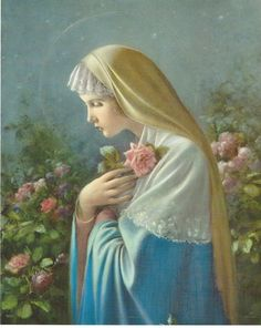 """Blessed Virgin Mary Mystical Rose Catholic picture Print  - 8"""" x 10"""" art ready to frame"""