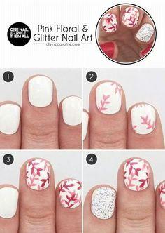 Pink floral & glitter nail art
