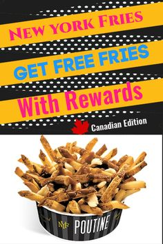 New York Fries Has a great Loyalty program that will help you save money with Fast Food! Earn Free Fries by simply having a rewards card! Lots of ways to earn free food. Pulled Pork Sauce, Free Fry, Free Rewards, Cheese Curds, Braised Beef, Poutine, Wine Sauce, Butter Chicken, Simple Living