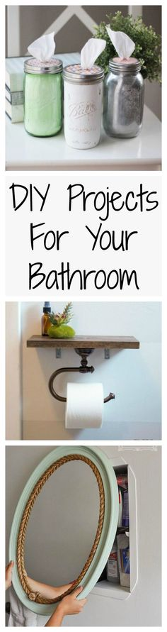 The best DIY projects & DIY ideas and tutorials: sewing, paper craft, DIY. Diy Crafts Ideas Your bathroom should be just as pretty as all the other rooms in your house, and these easy DIY projects could help make that happen. Home Projects, Home Crafts, Diy Crafts, Easy Home Decor, My New Room, Diy Furniture, Mason Jars, Mason Jar Bathroom, Diys