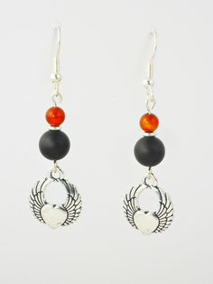 Antique Silver Winged Hearts with Glass & Carnelian
