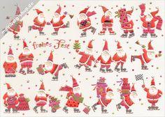 Turnowsky Weihnachtskarte mit zwanzig Weihnachtsmännern auf goldenen Schlittschuhen. Blitzschnell werden so viele Geschenke verteilt und die Zielflagge kann geschwenkt werden.
