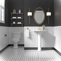 Gorgeous Black And White Subway Tiles Bathroom Design Black White Bathrooms, White Bathroom Tiles, White Subway Tiles, Bath Tiles, Bathroom Flooring, Black And White Bathroom Ideas, Wainscoting Bathroom, Painting Bathroom Tiles, Gold Bathroom